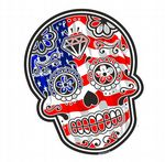 Mexican Day Of The Dead SUGAR SKULL With American Stars & Stripes Flag Motif External Vinyl Car Sticker 120x90mm